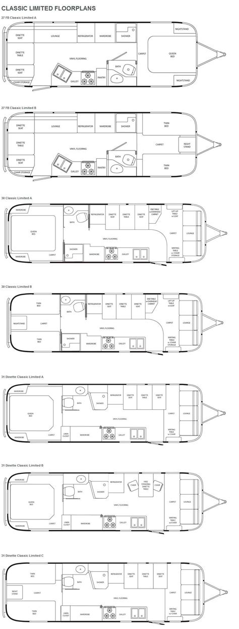 airstream floor plans airstream classic limited travel trailer floorplans rv