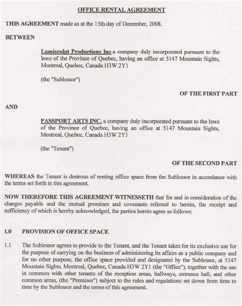 Office Rental Agreement Template Free Printable Documents Office Rental Agreement Template