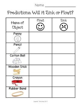 sink or float worksheet sink or float worksheet by teitsma treasures teachers