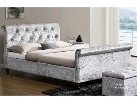 Velvet Sleigh Bed Wellington Crushed Velvet Sleigh Bed