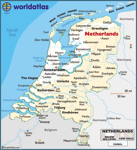 netherlands mountains map netherlands landforms map