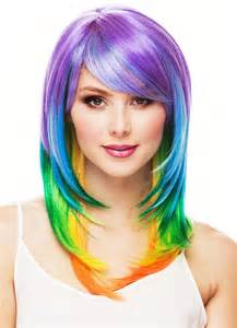 colored wigs multi color layered wig