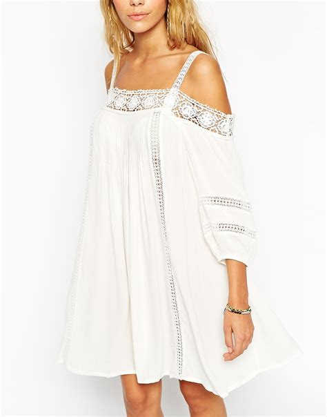 swing cream lyst asos boho swing dress with crochet inserts and cold