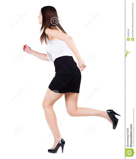 the of running in heels back view of running in dress royalty free stock