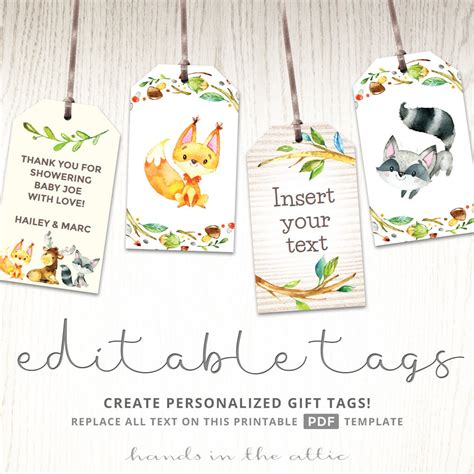 printable animal gift tags forest animals gift tags printable woodland baby shower