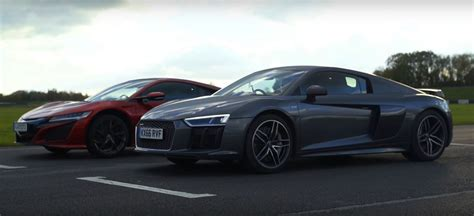 2017 acura nsx gets bashed by 2016 audi r8 v10 plus in a