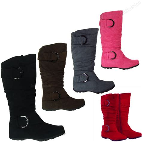womens boots knee high faux suede flat boot fashion slouch