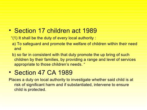 section 17 children s act 1989 key areas for exam