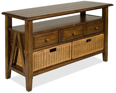 console table with wicker baskets riverside furniture claremont 3 drawer console table with