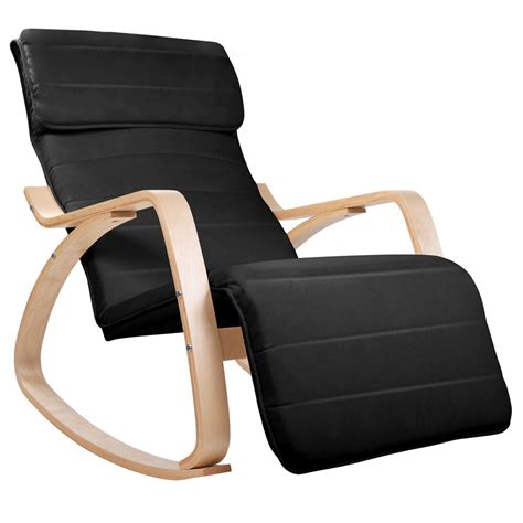 black fabric armchair birch plywood adjustable rocking lounge arm chair w