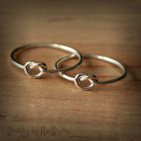 2 friendship knot rings set of two best friends rings