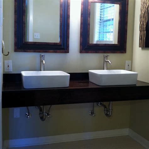 diy floating vanity with vessel sinks home ideas