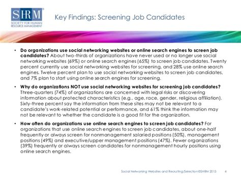 Finding S Social Networks Shrm Survey Findings Social Networking Websites And Recruiting Selec
