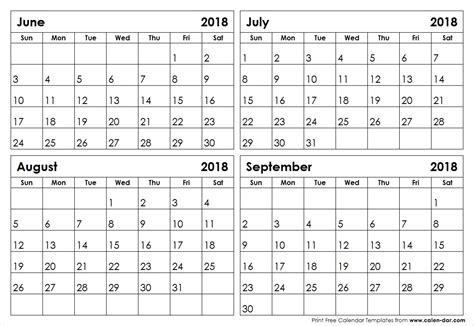 4 Month Per Page Calendar Template 2015