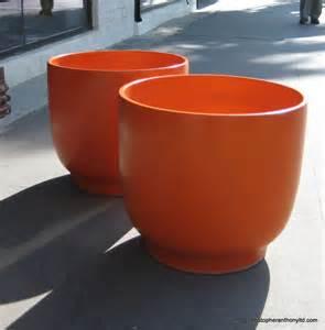 Glazed Planters Architectural Pottery Large Orange Glazed Ceramic Planters