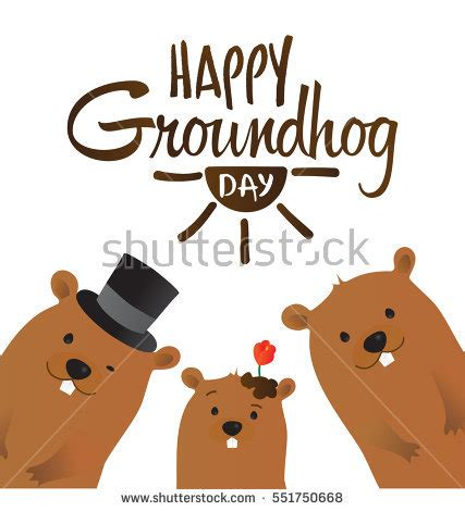 groundhog day characters happy groundhog day typographic vector design