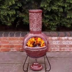 Chiminea Clay Outdoor Fireplace Gardeco Espiral Rustic Mexican Clay Chiminea Large