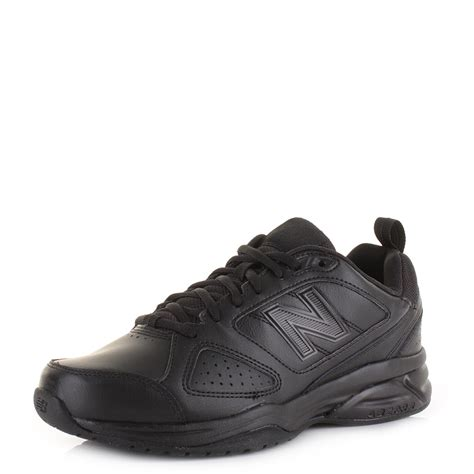 black leather sports shoes mens new balance mx624ab4 black leather sports