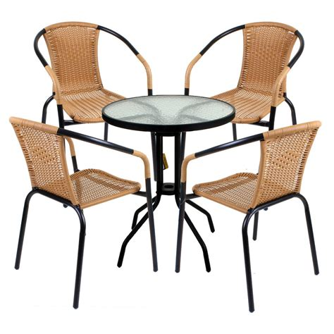 5 Piece Bistro Set Garden Patio Tan Wicker Rattan Outdoor Garden Patio Chairs