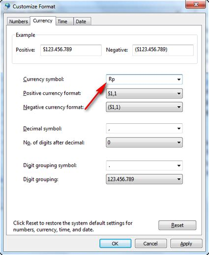 accounting number format fungsinya adalah cara merubah default satuan mata uang accounting dari