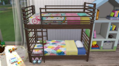 download sims 4 cc bunk beds ts3 to ts4 dorm bunk bed for toddlers two versions