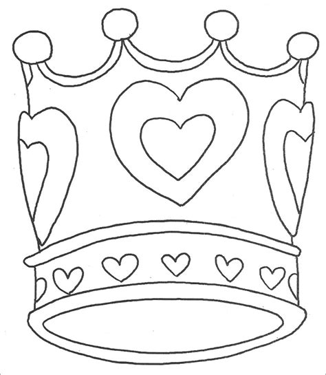 heart crown coloring page crown template free templates free premium templates