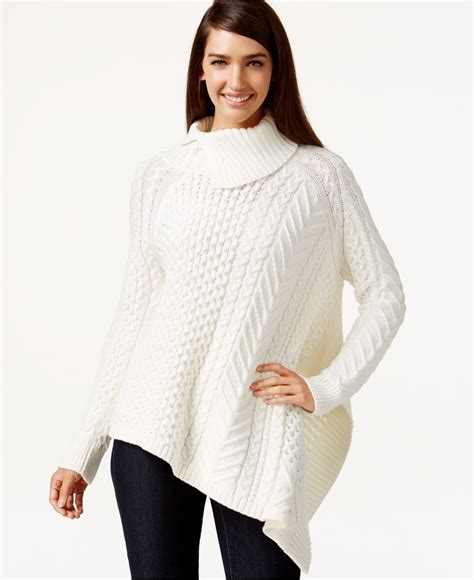 Sweater 10179760 White Knitting vince camuto asymmetrical cable knit poncho sweater in white lyst