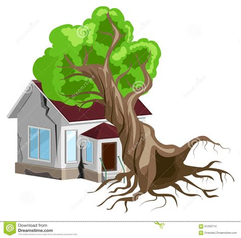 insurance on house tree fell on house home insurance cartoon vector cartoondealer com 63786725