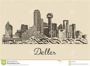 dallas skyline vector illustration hand drawn stock vector