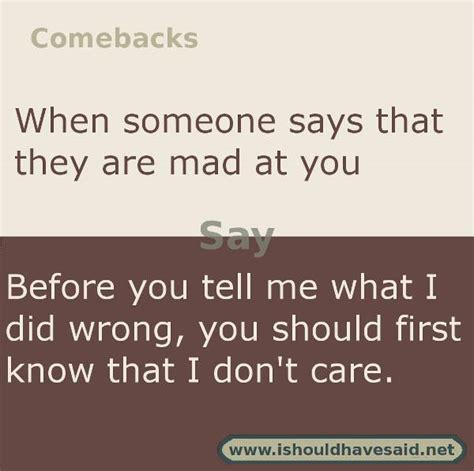 Is Mad At by Comebacks When Someone Says I M Mad At You I Should