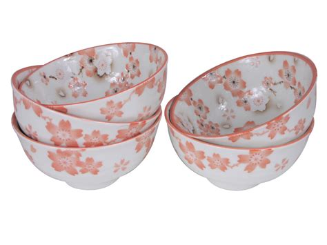 large rice bowl cherry with spoon and pale pink cherry blossom rice bowls set for five