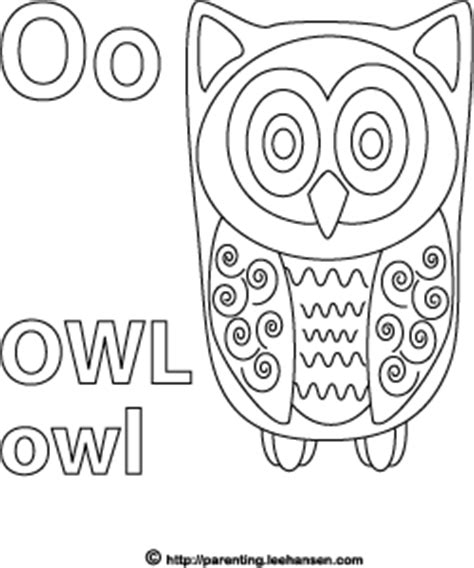 O The Owl Coloring Page by Letter O Activity Page Owl Alphabet Coloring Sheet