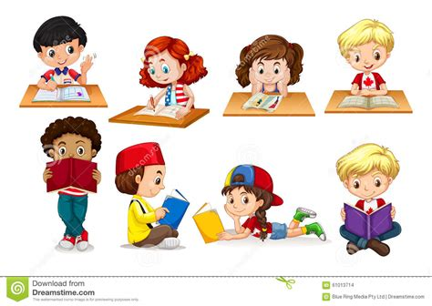 Boy And Girl Reading And Writing Stock Vector Image Picture Of Boy And Free