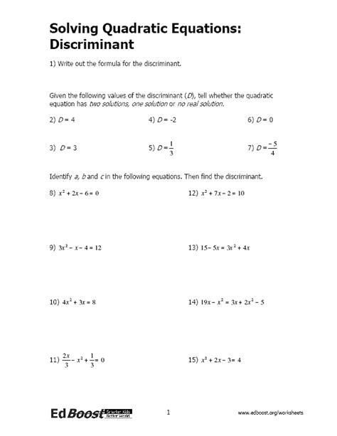 Solving Quadratic Equations By Finding Square Roots Worksheet by Solving Quadratic Equations Inequalities Edboost