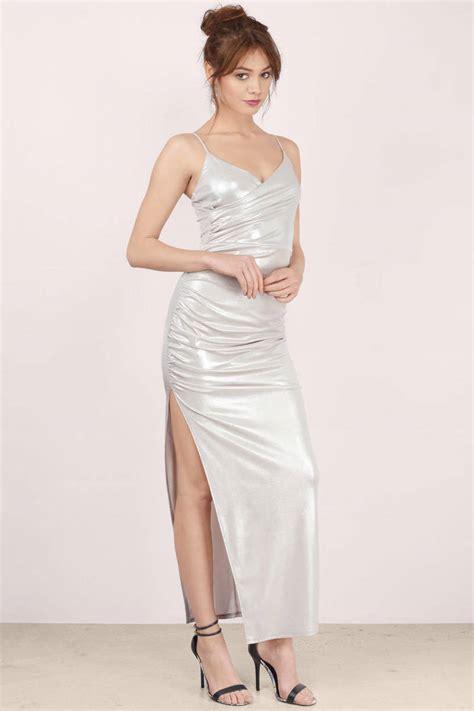 Dress Silver silver maxi dress silver dress draped dress