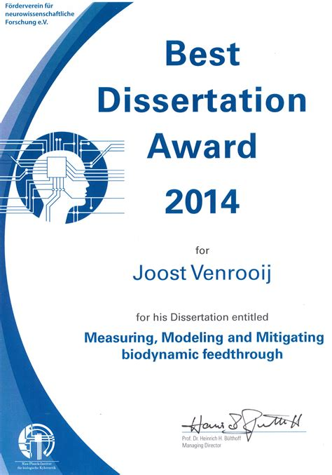 what is phd dissertation joost venrooij received best phd thesis award delft