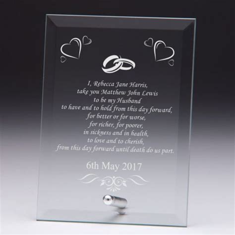 Wedding Vows Uk by Wedding Vows Personalised Glass Plaque Engrave A Gift
