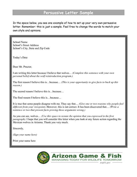 persuasive letter template persuasive letter sle in the space below picture