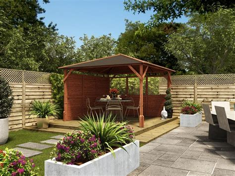 garden gazebo kits gazebos wooden open heavy duty garden square bbq shelter