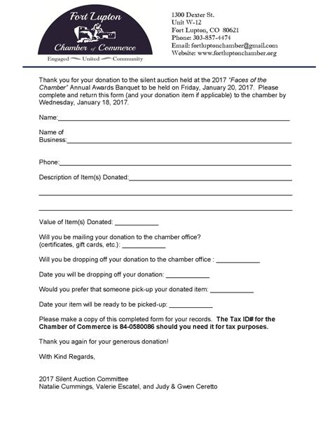 silent auction donation receipt template 2017 silent auction donation form 1 page 001 187 fort lupton