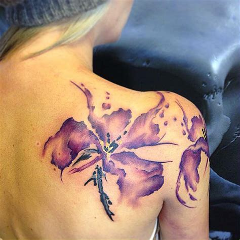 butterfly lily tattoo designs watercolor http tattooideas247 shoulder