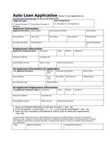 Car Application by Auto Loan Application Form Sample And Template Vlashed
