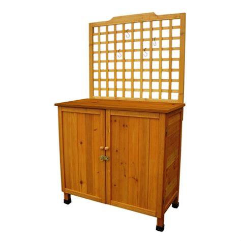 potting bench with cabinet outdoor storage solid wood cabinet potting bench with