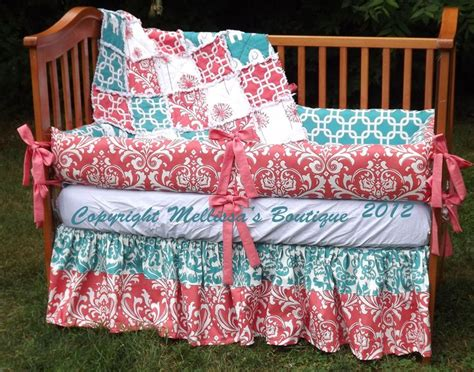 coral and turquoise baby bedding custom boutique coral and turquoise palette baby nursery 3