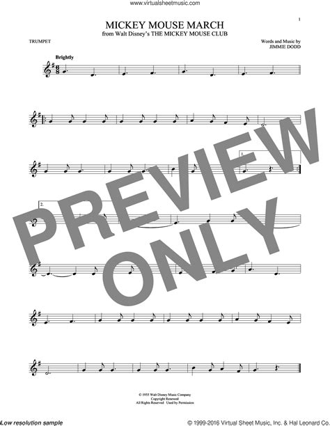 Mickey Trumpet dodd mickey mouse march sheet for trumpet pdf