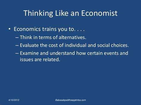 Chapter 2 Thinking Like An Economist Mba by Economist An Wive Of Economist Mba
