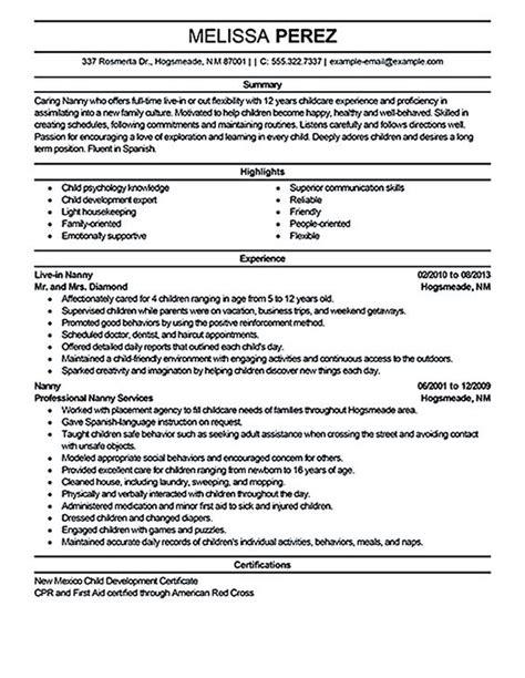 nanny resume sles annecarolynbird