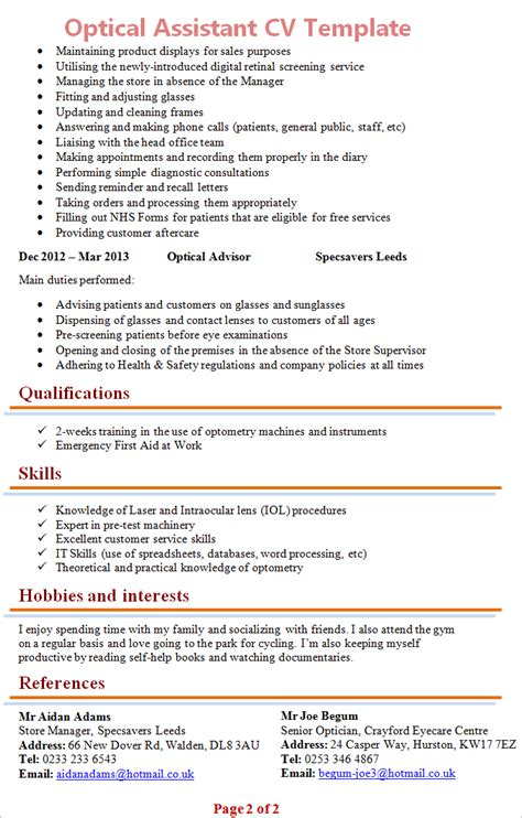 cover letter for optical assistant optical assisstant cv template 2