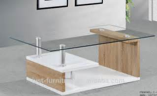 modern wood center table for living room with glass top