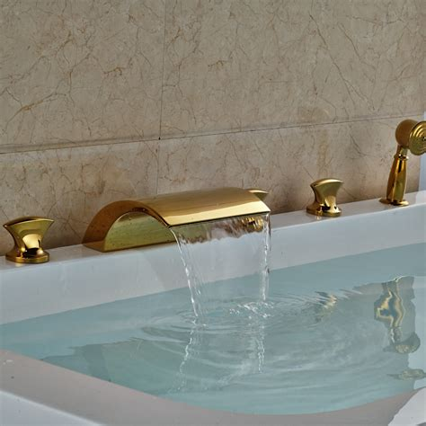 5 piece bathtub faucet 5 piece bathtub faucet waterfall gold finish 5 piece